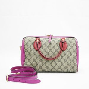 Gucci Bag Boston Gg 2 Way Purse Red Pink Monogram